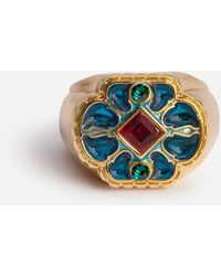 Dolce & Gabbana Metal Ring With Blue Enameled Flower - Multicolor