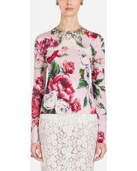 Dolce & Gabbana - Peony-print Silk Sweater With Round Neck - Lyst