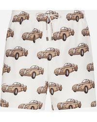 Dolce & Gabbana Medium Swimming Trunks With Small Car Print - Natural