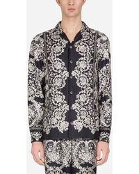 Dolce & Gabbana Pyjamahemd Aus Bedruckter Seide - Schwarz