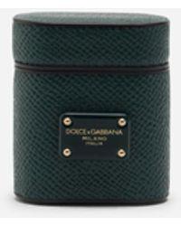 Dolce & Gabbana Airpod Case In Dauphine Calfskin - Green
