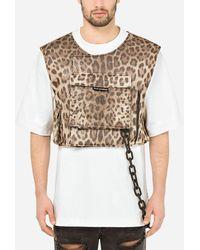 Dolce & Gabbana Leopard-print Silk Vest With Patch Embellishment - Multicolour