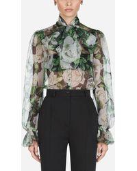 Dolce & Gabbana Organza Rose Print Blouse - Multicolor