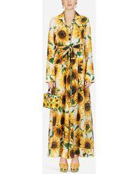 Dolce & Gabbana Sunflower-print Crepe De Chine Jumpsuit - Yellow