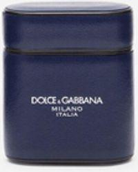 Dolce & Gabbana Étui Pour Airpods En Cuir De Veau Gange - Bleu