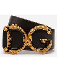 Dolce & Gabbana Cinturón De Cuero Con El Logo Dg Barroco - Negro