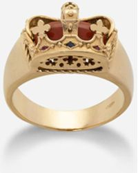 Dolce & Gabbana Crown Yellow Gold Ring With Red Jasper On The Inside - Metallic