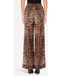 Dolce & Gabbana Leopard-print Satin Pajama Pants - Brown