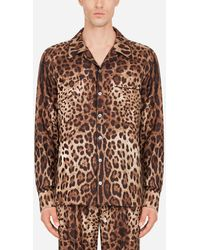 Dolce & Gabbana Silk Pyjama Shirt With Leopard Print - Braun
