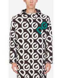 Dolce & Gabbana Nylon Rain Coat With Dg Logo Print - Black
