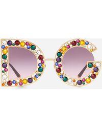 126c0e878efa Lyst - Dolce   Gabbana Crystal-embellished Round-frame Gold-tone ...