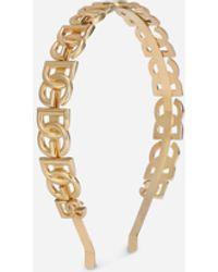 Dolce & Gabbana Rigid Headband With Dg Multi-logo - Metallic