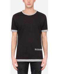 Dolce & Gabbana Two-Tone Cotton T-Shirt With Dg Logo Print - Blanco
