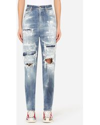 Dolce & Gabbana Amber Jeans With Jacquard Inserts - Blue
