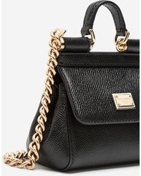 Dolce & Gabbana Sicily Handbag In Printed Dauphine Calfskin - Black