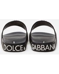 Dolce & Gabbana Rubber Beachwear Sliders With Stylist Patches - Black