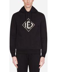 Dolce & Gabbana Cotton Hoodie With Dg Logo - Noir