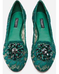 Dolce & Gabbana Slipper In Taormina Lace With Crystals - Verde