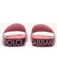 Dolce & Gabbana Rubber And Calfskin Sliders With High-frequency Detailing - Pink