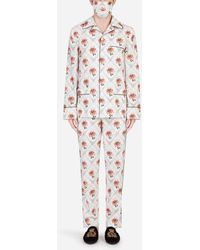 Dolce & Gabbana Lily-Print Pajama Set With Matching Face Mask - Mehrfarbig
