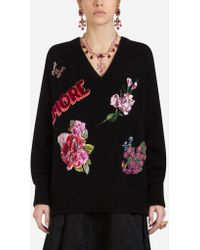 Dolce & Gabbana - Floral Embroidered Sweater - Lyst