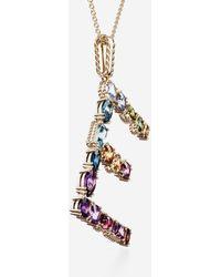 Dolce & Gabbana Rainbow Alphabet E Pendant In Yellow Gold With Multicolor Fine Gems - Mettallic