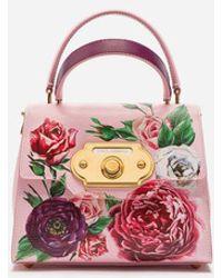 Dolce & Gabbana Kleine Tasche Welcome Aus Palmellato-Kalbsleder Mit Pfingstrosenprint - Mehrfarbig