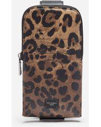 Dolce & Gabbana Smartphone Holder In Dauphine Calfskin With Leopard Print - Multicolour