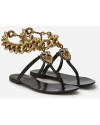 Dolce & Gabbana Devotion Flip Flops - Black