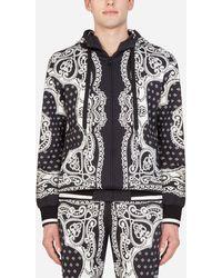 Dolce & Gabbana Kapuzenpullover Mit Reissverschluss Und Bandana-Print - Schwarz