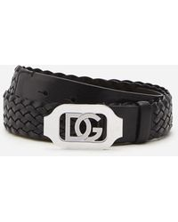 Dolce & Gabbana Woven Calfskin Belt With Crossover Dg Logo - Noir