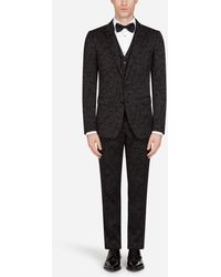 Dolce & Gabbana Floral Jacquard Martini Suit - Black