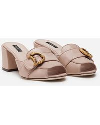 Dolce & Gabbana Nappa Leather Sliders With Baroque D&g - Pink