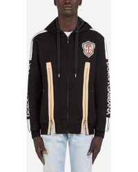 Dolce & Gabbana Zip-Up Hoodie With Dolce&Gabbana Print With Patch Embellishment - Nero