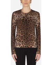 Dolce & Gabbana Woolen Cardigan With Leopard Print - Marron
