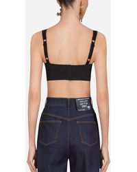 Dolce & Gabbana Corset Style Bustier Top In Sheath Jacquard And Lace - Noir