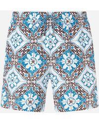 Dolce & Gabbana Boxer Da Mare Medio Stampa Maioliche Fondo Celeste - Blu