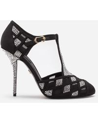 Dolce & Gabbana Mesh T-strap Shoes With Fusible Rhinestones - Black