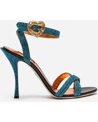 Dolce & Gabbana - Sandal In Soft Lurex With Jewel Buckle - Lyst