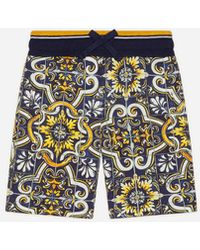Dolce & Gabbana Bermuda-Jogginghose Aus Jersey Mit Majolika-Print - Mehrfarbig