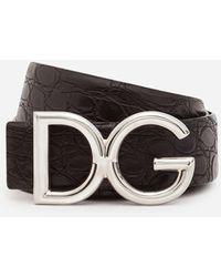 Dolce & Gabbana Gürtel Aus Krokodilleder Mit Dg-Logo - Schwarz