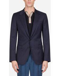 Dolce & Gabbana Taormina Jacket In Wool And Silk - Blu