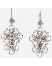 Dolce & Gabbana Barocco Earrings In White Gold With Diamonds - Mehrfarbig
