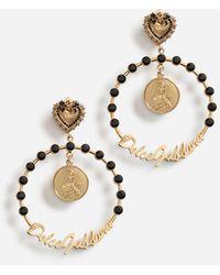 Dolce & Gabbana Argollas de clip con adornos - Negro