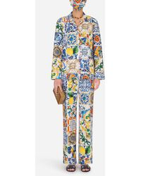 Dolce & Gabbana Majolica-print Pajama Set With Matching Face Mask - Blue