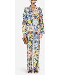 Dolce & Gabbana Pyjama-Set Mit Schutzmaske Majolika-Print - Blau