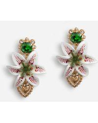 Dolce & Gabbana Crystal Lily Embellished Dg Heart Earrings - Metallic