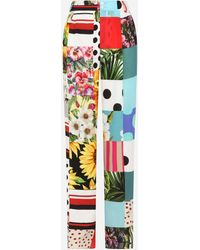 Dolce & Gabbana Flared Patchwork Crepe De Chine Pants - Multicolor