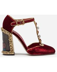 Dolce & Gabbana Velvet T-strap Shoes With Embroidery - Red