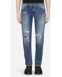 Dolce & Gabbana Light Blue Skinny Stretch Jeans With Rips - Blau